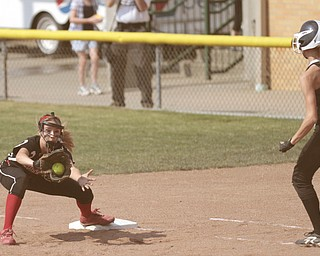 ROBERT K. YOSAY | THE VINDICATOR..A couple of bloop hits combined with a three-base error on a sacrifice bunt to propel the Mathews High softball team to its biggest game in school history..Junioir shortstop Jessica Marsico drove in two runs plus made a sliding catch in right field in the seventh inning to help the Mustangs defeat Covington, 5-3, in ThursdayÕs Division IV state semifinal game at Firestone Stadium.. - -30-..