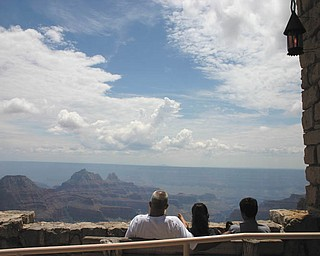 Dominic Pannunzio, son Anthony and daughter Andrea enjoy the view at the North Rim of the Grand Canyon.