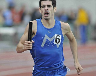 Wyatt Hartman of Maplewood sprint down the track during the boys 4x800 race Friday morning at the State Track Meet in Columbus. Maplewood would finish second in the 4x800.