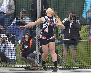 Newton Falls Shannon Montgomery of throws the discus during Friday morning at the State Track Meet in Columbus.