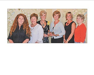 Columbiana Area Business and professional Women's Group recently met at the Salem Golf Club to install new officers. Taking office for the next term will be Jenny Pike, president; Monica Robb, first vice president; Susan Frenger, second vice president; Sandy Webber, treasurer; and Holly Baker, secretary. Shown from left are Baker, Webber, past president Lori Everly, Pike and Robb. Cristina Huffman, treasurer of the CABPW Foundation, is at right. The new officers look forward to carrying on the mission of the BPW, which in part is to achieve equity for all women in the workplace through advocacy, education and information. If you are interested in joining contact Everly at 330-853-5896 or leverly1101@aol.com. The group meets the fourth Tuesday of most months, and annual dues are $43. They have a Facebook page under Columbiana Area Business and Professional Women.
