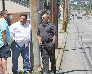 """""""Increase the Peace"""" is the theme of community-outreach  activities that start Tuesday and continue through August by NOW Youngstown. Clergy involved in the effort to calm city streets are, from left, Pastor Rafael Cruz of Unity Baptist Church in Boardman and Pastors Rolando Rojas of Spanish Evangelical Church and Al Yanno Jr. of Metro Assembly of God, both of Youngstown."""