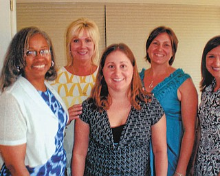 The Mahoning County Medical Society Alliance recently installed officers at a luncheon meeting May 29 in Austintown. From left to right are Sarah Sanders, Ohio State Medical Association Alliance treasurer, and officers who were installed: Michele Duffett, president; Katie Altenhof, vice president; Tammy Engle, treasurer; and Jenna Cicchillo, secretary.