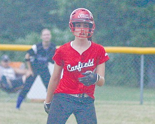 Canfield's Gina Mancini leads off of second base during Monday's Mahoning-Trumbull All-Star games at Candlelite Knolls in Bazetta Township. In the second game, Mancini was one of three players to catch for both teams.