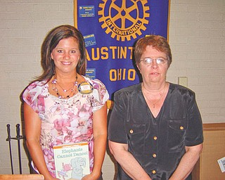 Deanna Hosey, right, owner of Something Unique For You, an Austintown flower shop, introduced the Rotary Club of Austintown to The Cash Mob Youngstown Movement recently. Cash Mob is a grassroots movement to support local businesses. Members will vote to visit one small business per month, show up on a special day and each will spend $20 at that store. The business must have products that have a wide appeal to men and women, it must be locally owned and operated within a brick and mortar retail location. Hosey, also a member of Austintown Junior women's League, talked of forming a community calendar to be posted on the township website, perhaps drawing more support for the programs. At left is Austintown Rotary President Deanna Spirko.