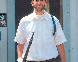 Matt Speece takes part in an event at the War Vet Museum in Canfield. Photo sent in by Lana Vanauker of Canfield.
