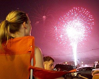 Downtown Youngstown was crowded with spectators watching Fourth of July fireworks Wednesday night.