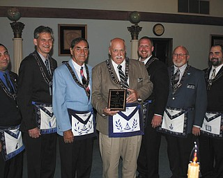 Officers of Argus Lodge 545 of Canfield received the 24th Masonic District Excellence in Ritual award at a special meeting in June. The award is for their dedication and knowledge of the ritual of Freemasonry. From left to right are Raymond Gonzalez, Mark Roca, Russell W. Gillam Jr., Thomas J. Hallden, Ryan Hamilton, Dale Hawkins and Patrick Anderson.