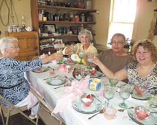 The first tea at the Barnhisel House is commemorated by guests, from left, Marcena Dilley, Betty Linville, Nancy Patterson and Michelle Mazzella. The Barnhisel House, operated by Girard Historical Society, is located on Youngstown-Warren Road (Route 422) in Girard. It is open from 1 to 4 p.m. the second and fourth Sundays of the month. An exhibit of antique tools is currently featured. Donations are accepted. Visitors may buy calendars and postcards. Memberships are available by calling 330-545-6559 or 330-545-6162. Visit www.girardhistoricalsociety.org.