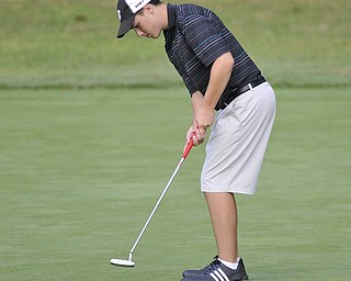 Cory Stefanec, Mooney, watches his putt on his way to an 86. He was playing in the 2012 Greatest Golfer of the Valley junior finals Saturday at Trumbull Country Club. Adult finals are Aug. 24, 25 & 26.