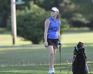 Rachel Williamson watches her shot Saturday. She was playing in the 2012 Greatest Golfer of the Valley junior finals Saturday at Trumbull Country Club. Adult finals are Aug. 24, 25 & 26.
