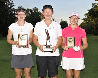 Juniors U14 Girls champ Kaylee Neumeister, Lakeview, is joined by Emily Koehler, Vienna, and Sarah Brindley, Howland.