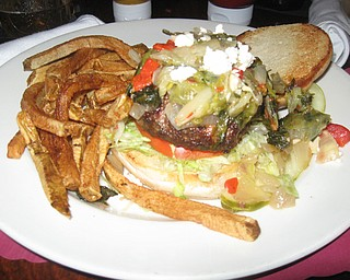The Iron Bridge Inn's Big Greek Burger.