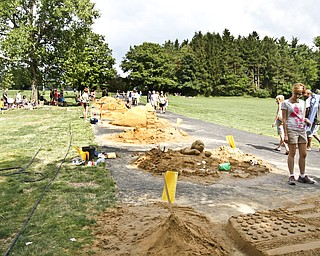 An overview of the sand sculpture contest at Mill Creek Park.