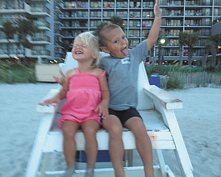 Eli and Ella Gough loved all of the lifeguards on vacation at Myrtle Beach, so they were able to fill in for a short time while one lifeguard was on break. The kids are the children of Bryan and Karen Gough of Cortland.