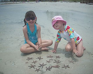 Sisters Marissa and Camryn find starfish on the beach in Florida. Photo sent in by Kelly Alexander.