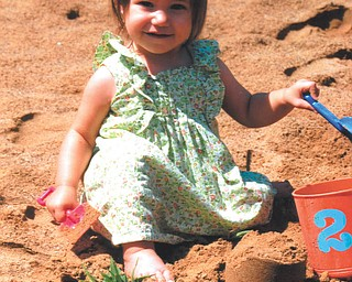 Audrey plays in the sand at Speece Lake in Berlin Center in July. Photo by Lana VanAuker of Canfield.