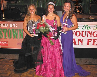 Michelle Sergi, 20, of Lowellville, center, won the title of Miss Italian Youngstown at the Greater Youngstown Italian Fest, which took place Aug. 3 through 5 downtown. The contest honored young women who are proud of their Italian heritage. Sergi is a medical student at Akron University. At left is second runner-up Joellin Chance, 18, of Youngstown, and at right is first runner-up Jenna Alexandra DePizzo, 20, of Cortland. Chance is a member of the National Honor Society and plans to study nursing at Walsh University. DePizzo is an honor student at Slippery Rock University.