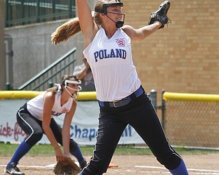 Aleah Hughes pitches for Poland on August 8, 2012 at the Firestone Stadium in Akron, Ohio.