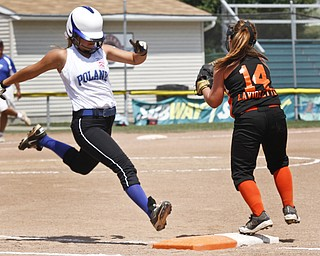 Cara Kaldouris runs to base after making a hit.