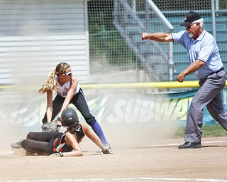 Kat Wilson for Poland tags Mackenzie for Escanaba All Stars out while the ump makes his call.