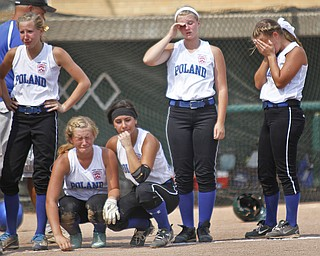 (L-R) Kat Wilson, Ally Deemer, Jenna Schettler, Megan Marsico, and Cara Kalouris react after the loss of the game.