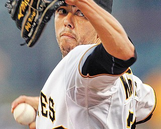 Pittsburgh Pirates starting pitcher Jeff Karstens throws against the Los Angeles Dodgers in the first inning