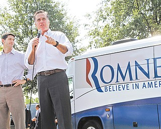 Republican presidential candidate Mitt Romney and his running mate, Rep. Paul Ryan R-Wis., left, campaign in Mooresville, N.C. For the first time in decades, the Republican presidential ticket has little substantial foreign policy or military experience.