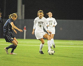 Pitt senior Ashley Cuba (4), a Cardinal Mooney High graduate, needs one point to tie the school's career scoring