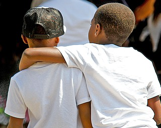 Boys among more than 50 mourners at the funeral for Bryce Linebaugh, 8, at Leavittsburg Church of God, Aug. 24, 2012.