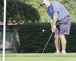 William D Lewis The Vindcator Barry Piper chips on #5 at Trumbull Saturday.