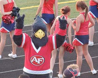 "Freddie Falcon was all ""dressed up"" in new attire thanks to some local businesses! Go Falcons!"