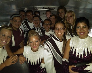 Boardman Band seniors and Sweethearts waiting out the storm on the bus