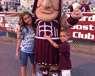 Mia and Gabe Hammerton enjoy a visit with the Spartan