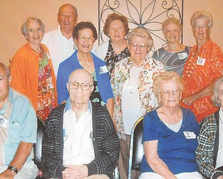 The 67th reunion of The Rayen School Class of 1945 brought together former classmates Aug. 4 at Davidson's Restaurant in Cornersburg. In the first row are, from left to right, Angelo LaCivita, Anthony Parisi, Betty Fitch and Jackie Trittschuh. In the back, from left, are Fran Into, Anthony Valley, Toni Ricciardulli, Dolly Morrow, Martha Rothbauer, Vi Esker and Gloria Flower.