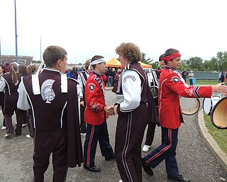 Fitch and Boardman drumline members shaking hands after the drum off.  Great sportsmanship!