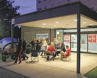 Democrats set up camp outside the Mahoning County Board of Elections on Oak Hill Avenue. Monday night's sleep-out was designed to raise awareness about early voting in Ohio, which began today.