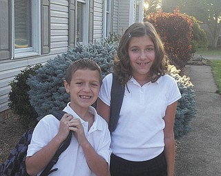 Alexa and Braedon Kurimski on their first day of school at St. Charles School in Boardman. Sent by Lori Kurimski.