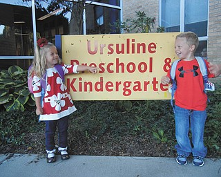 This is a picture of the first day of preschool this year for twins Eva Rose and Georgie Camuso at Ursuline Preschool and Kindergarten in Canfield. Parents are Anthony and Rachel Camuso of Canfield.