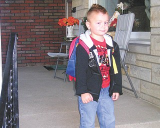 Justin Jeffery Sudetic is pictured on his first day of preschool at McGuffey School in Youngstown.