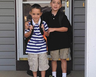 Dominic and Timmy Pappagallo of Mineral Ridge are heading out on their first day of kindergarten and second grade.