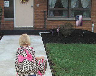 Mary Melone, 4, of Boardman on her first day of preschool at St. Christine's. Sent in by Kristy Melone.