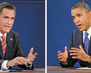 Republican presidential nominee Mitt Romney and President Barack Obama answer questions during the third and final presidential debate at Lynn University in Boca Raton, Fla., on Monday.