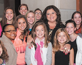 """""""Dance Moms"""" star Abby Lee Miller meets with her adoring fans during filming of an episode of the Lifetime reality show Sunday at Stambaugh Auditorium."""