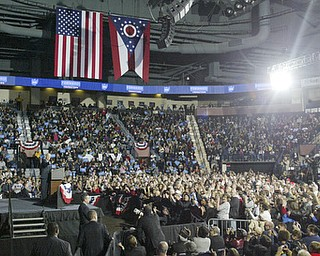 William d Lewis the vindicator   VP Joe Biden speaks while Pres, Bill Clinton and about 4,800 other listen during a Monday 10-29-12 event at the Covelli Center in Youngstown.
