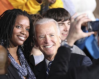 William d Lewis the vindicator   Joe Bidenposes for a photo during rally 102912 at Covelli.