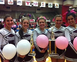 Boardman senior cheerleaders with Pink Ribbon trophies!