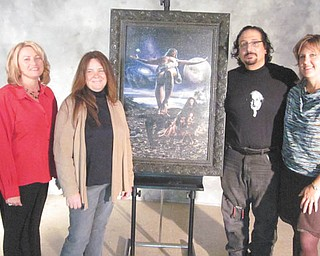 """Artist Ray Simon is donating one of his masterpieces to the Simply DeVine Gala and Auction, a benefit for The Way Station of Columbiana. It will be included in the auction that is part of the gala planned from 5:30 to 8 p.m. Nov. 11 at The Links at Firestone Farms, 105 St. Andrews Drive, Columbiana. The 24-by-36-inch print, titled """"The Crucifixion: Father Forgive Them For They Know Not What They Do,"""" has a retail value of $5,000. Admiring the painting are, from left, Cindy Burdick, gala co-chairwoman; Vicki Hopper, executive director of The Way Station; Simon; and Gail Hettrick, gala publicity chairwoman. For tickets call Sharon Frost at 330-482-5903. The painting will be displayed in several Catholic churches, including St. Michael in Canfield and St. Patrick Cathedral in Pittsburgh."""