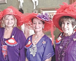 Piccadilly Parlour Victorian Tea Room, 114 S. Broad St., Canfield, was the location of the Sept. 25 meeting of three Red Hat groups. Queens Judy Hoffman, left, Paula DeMatteo and Barb Tidwell, with their club members enjoyed the food and camaraderie. Queen Paula with the Peppy Purple Red Hats from Hermitage, Pa., hosted the tea party while Queen Barb with the Border Queens  from Masury and Queen Judy with the Roses of Sharon from Sharon, Pa., enjoyed the festivities. They exchanged ideas for future adventures and played games using red elephant gifts. A door prize was awarded.
