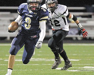 Brookfield running back Ryan Mosora (3) surpassed 2,000 yards rushing for the season with 145 yards in a 55-14 win over Akron Manchester in the Division IV, Region 13 semifinal Friday in Twinsburg. This Friday, the No. 1 Warriors get another shot at No. 2 Creston Norwayne Bobcats, who beat them last year in the playoff opener.